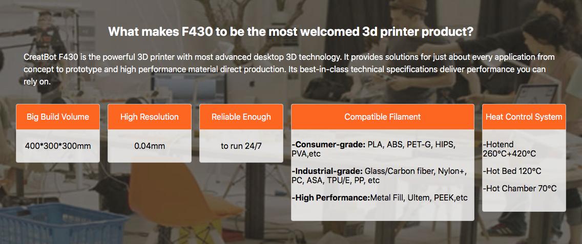 Creatbot F430 High Temp Industrial 3D Printer In India