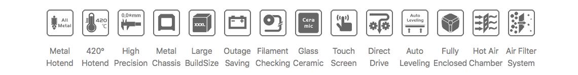 Creatbot F430 High Temp Industrial 3D Printer features
