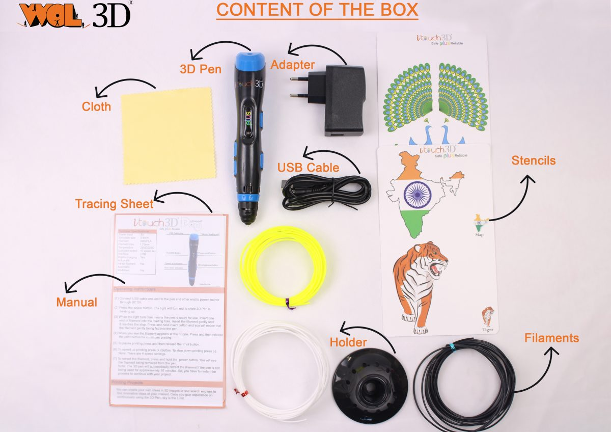 I touch Plus 3D pen with filament Content of the box